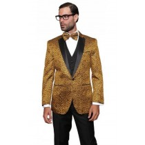 Mens Floral Sateen Paisley Sport Coat Flashy Silky Gold Party