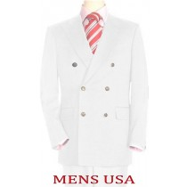 Mens High Quality Snow White Double Breasted Blazer Dinner