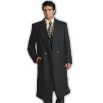 Mens Six Button Charcoal Grey Notch Lapel Fully Lined Long Coat