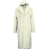 Mens Faux Fur Coat Full Length Overcoat Matching Hat Off White