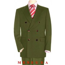 High Quality Olive Green Double Breasted Blazer Peak Lapels