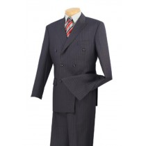 Mens Executive 6 On 2 Double Breasted Banker Pinstripe Charcoal