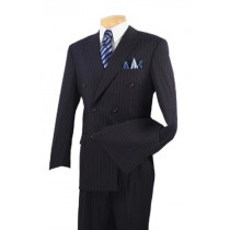 Mens Executive Double Breasted Banker Pinstripe Dark Navy