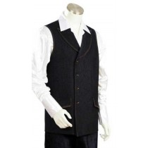 Men's Denim Double Breasted Vest And Wide Leg Pant Set