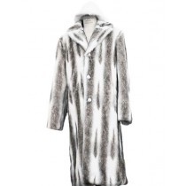 Mens Faux Fur Coat Full Length Overcoat Matching Hat Coffee