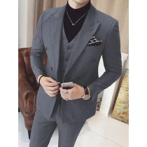 Mens Vested Double Breasted Suits 3 Piece Grey Peak Lapel