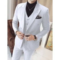 Mens Vested Double Breasted 3 Piece White Suits Peak Lapel