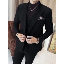 Mens Vested Double Breasted Black Suits 3 Piece Peak Lapel