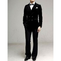 Men Velvet Double Breasted Peak Lapel Suits Black Brown Red