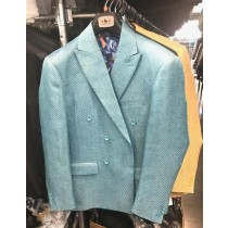 Mens Double Breasted Blazer Sport Coat Jacket Turquoise