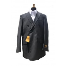 Mens Wool Double Breasted Blazer Sport Coat Jacket Charcoal