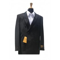 Authentic Mens Wool Pick Stitched Lapel Double Breasted Charcoal