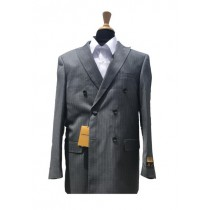 Mens Wool Pick Double Breasted Blazer Sport Coat Jacket Grey