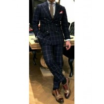 Men's Black White Window Pane ~ Plaid Double Breasted Wool Suits