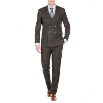 Men's Double Breasted Slim Fit Bold Stripe Black Peak Lapel