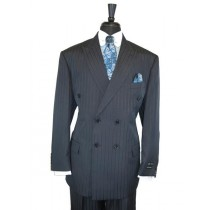 Double Breasted Tone On Tone Shadow Stripe Dark Navy Blue Suit