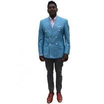 Mens Double Breasted Linen Sport Coat ~ Blazer In Light~Sky Blue