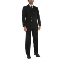 Mens Black 6 Buttons Style Double Breasted Suits Jacket & Pants