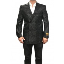 Mens Fancy Paisley Floral Black Double Breasted Sport Coat