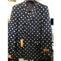 Navy Blue Or Black & White Polk Dot Double Breasted Blazer
