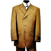 Mens Vested Single Breasted 3 Piece Taupe Suits 2 Pockets Khaki