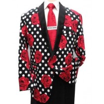 Mens Big And Tall Plus Size Sport Coats Black White Red Floral