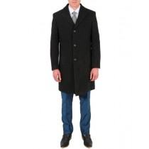 Mens Carcoat Modern Single Breasted Fit Wool/Poly Charcoal Overcoat