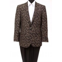 Men's Tazio Abstract Design Slim Fit Fashion Jacket Brown
