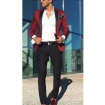 Men's Burgundy ~ Wine ~ Maroon Color Satin Slim Fit Blazer