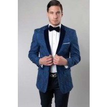 Mens Floral Pattern Slim Fit Solid Velvet Navy Sport Coat