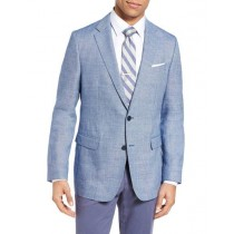 Men's Sportcoat Two Buttons Wool & Linen Bright Blue Slim Fit