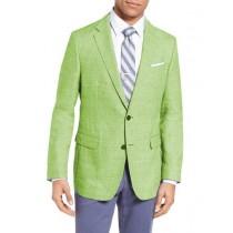 Men's Two Buttons Wool & Linen Apple Green Slim Fit Blazer