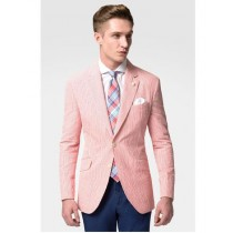 Men's Fashion Casual Slim Fit Suit Jacket Red Stripe Seersucker
