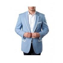 Men's Tazio Light Blue With White Trim Slim Fit Wedding Blazer