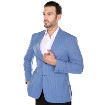 Renoi Men's Blue Textured Pinstripe Slim Fit Italian Styled