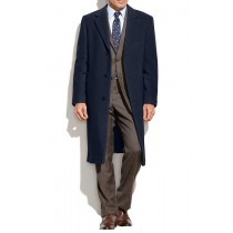 Designer Brand Wool Cashmere Button Closure Blend Overcoat Navy