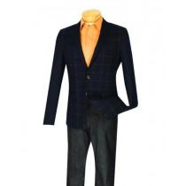 Mens Plaid ~ Windowpane Slim Fit Navy Blazer ~ Sport Jacket
