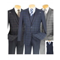 Mens Plaid ~ Windowpane Slim Fit Blazer Black/Blue/Gray Color