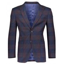 Mens Navy Slim Fit 2 Button Plaid ~ Windowpane ~ Checker