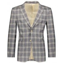 Mens Slim Fit Plaid ~ Windowpane ~ Checker Beige/Gray Blazer