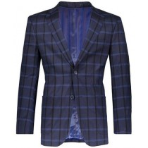 Navy Slim Fit 2 Button Plaid ~ Windowpane ~ Checker Mens Blazer