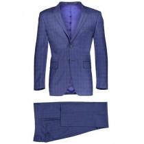 Mens Slim Fit 2 Button Dark Navy Suit Window Pane ~ Plaid Suit