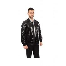 Mens Jacket Slim Fit Sequin Pattern Blazer Bomber Jacket Black