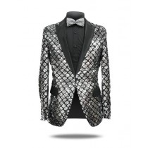 Men's Silver ~ Black 1 Button Peak Lapel Slim Fit Sequin Shiny