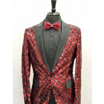 Men's Red ~ Black Slim Fit Peak Lapel 1 Button  Sequin Shiny