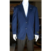 Mens Sport Coat Jacket Wool Patterned Fabric Two Button Navy