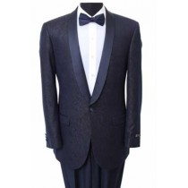 Men's Slim Fit Sport Coat - Fancy Pattern Satin Trim Navy