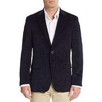 Mens Two Button Cuffs Front Regular Fit Corduroy Blazer Navy