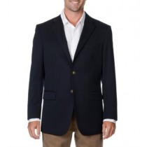 Men's Two Button Wool Big & Tall Long Gabardine Blazer Navy