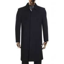 Mens Black Zip Up Closure Knee Length Coat Collared Wool Coat